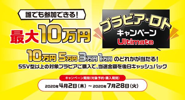 最大10万円!ソニー4Kブラビア・ロト・キャッシュバックキャンペーン!