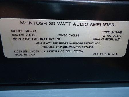 Mcintosh パワーアンプ  MC 30